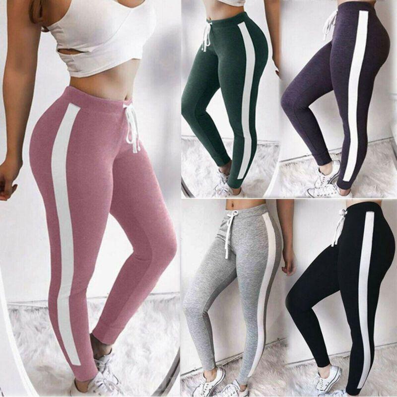 NUEVA llegada de yoga pantalones de cintura alta Mujeres lateral elástico con cordón Yoga Pantalones Casual Sport Running Legging Pantalones gimnasio de deportes