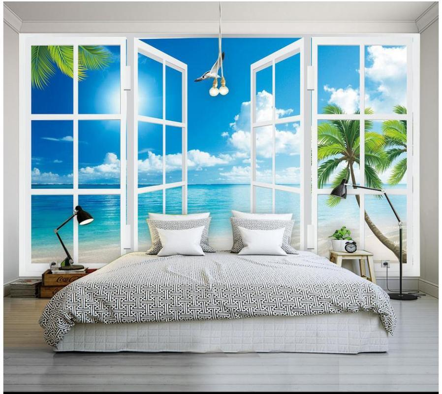 3D фрески комната обои на заказ 3d фото обои Средиземноморская окна декорации настенная приморской пейзаж фона стены живописи