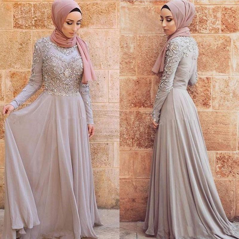 Chic manches longues robes de soirée musulmane Top perles en mousseline de soie arabe Dubai Abaya Kaftan Parti formel Robes Custom Made