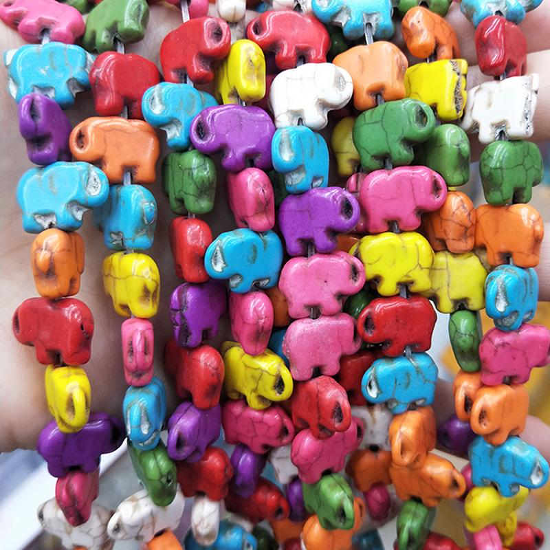 Colored Elephant Shaped Turquoise Beads For Jewelry Making Bracelet Necklace11X15X5mm Howlite Turquoise Stone Beads Wholesale Blue White