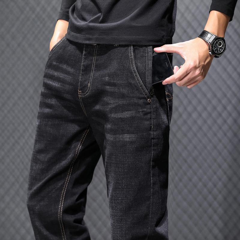 2020 Autumn New Classic Style Grey Black Slim Jeans Anti-theft Zipper Cotton Elastic Regular Fit Denim Pants Male Brand Trousers