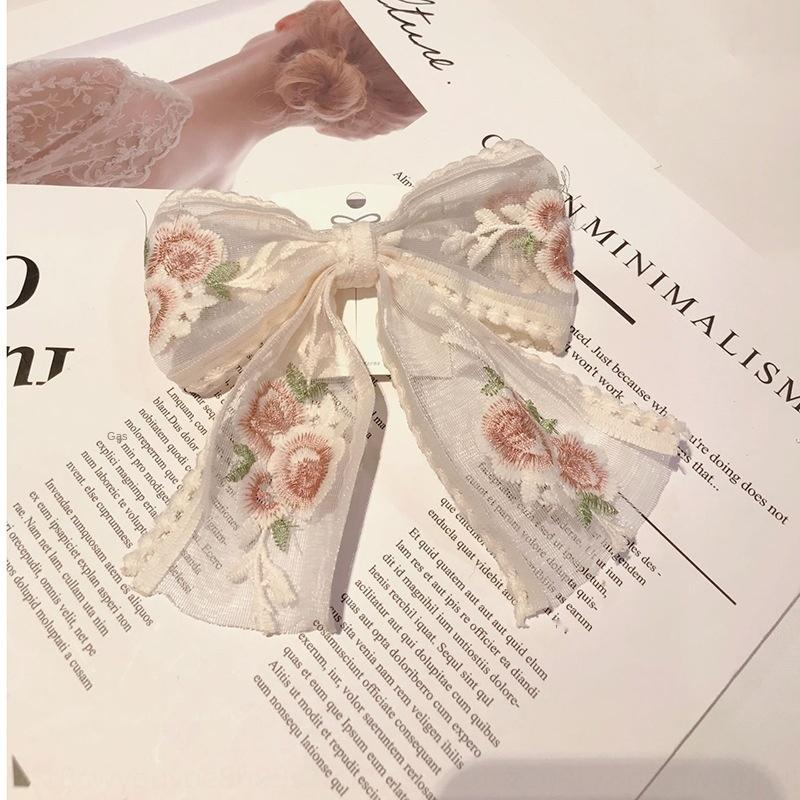 vTFRV coreana ins celebridade Internet branco rendas hairpin fadas Super rendas borboleta borboleta grande arco de cabelo primavera rabo de cavalo hairpin accessori