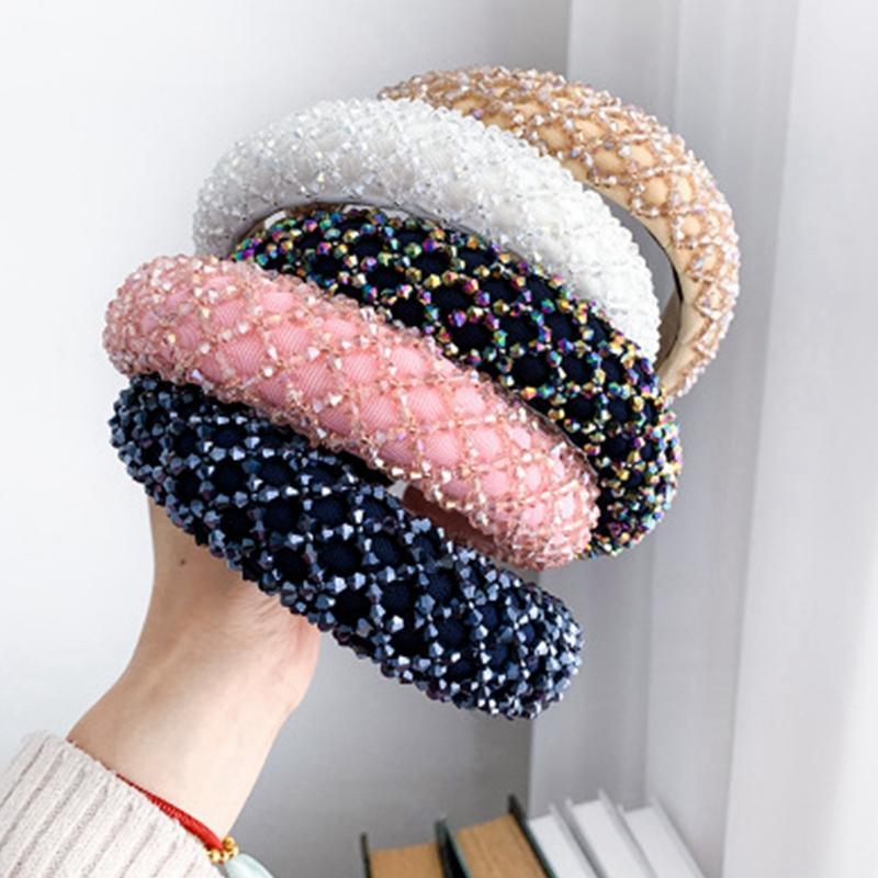 Venda cristalina colorida para EEA2035 hecha a mano con cuentas de cristal Mujer de lujo de la venda del banquete de boda de novia pelo de la esponja bandas para la cabeza