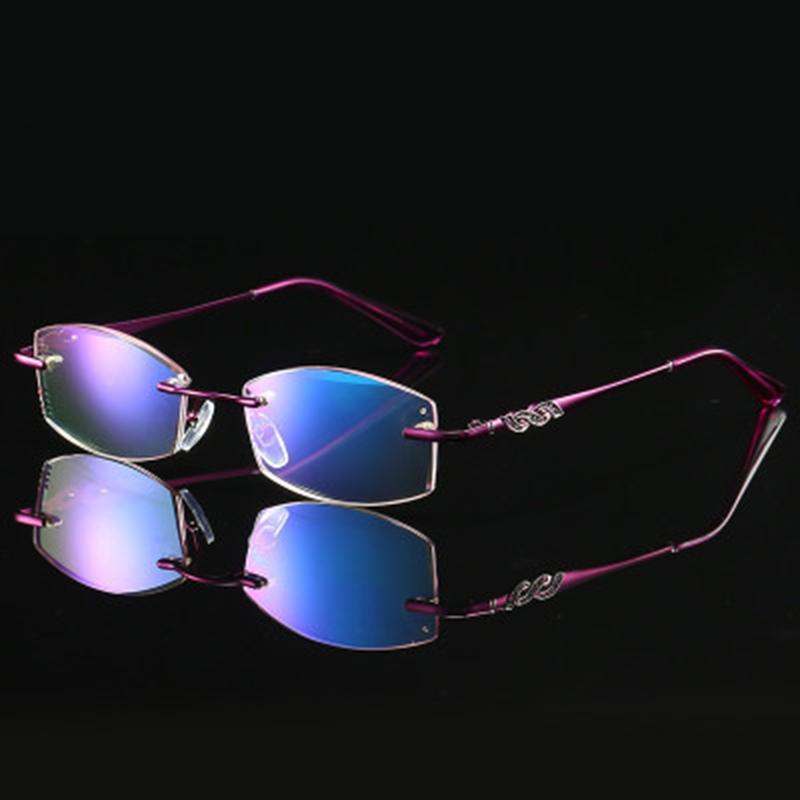 Occhiali da lettura Donne modo delle signore degli occhiali presbiopia occhiali da lettura Rimless qualità diamante taglio Viola