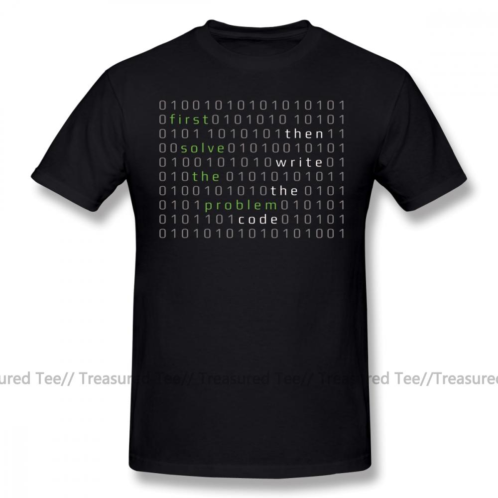 Développeur T-shirt d'abord résoudre le problème Rédigez ensuite le code T-shirt des hommes de plage T-shirt drôle 6xl graphique coton T-shirt