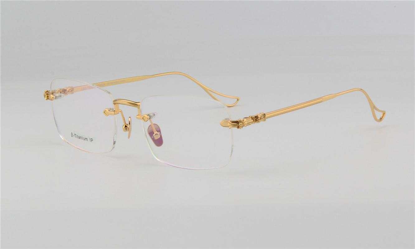 Серебряный дизайн титановые мужчины Ретро Goggle Женщины Очки RIMENLE RIMERLE Frame Unisex Clear Lens Brand Bowegia Очки Optical Gold Wevam