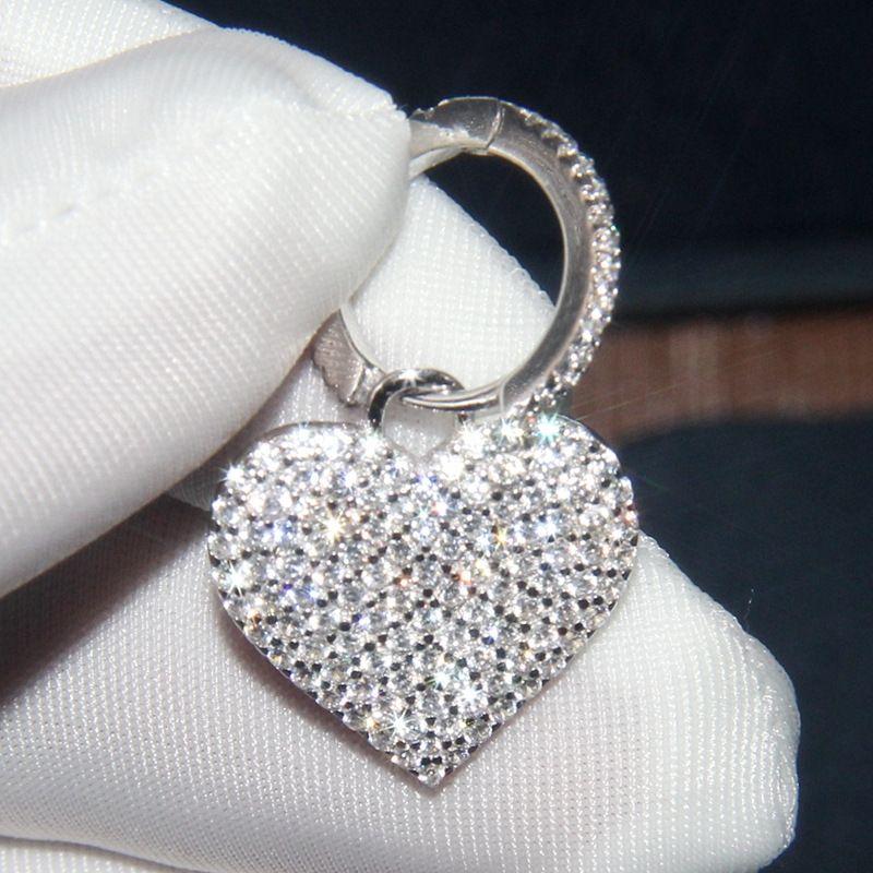 ba6Vc A S925 Sterling Silber Damen-Kristall-Diamant-Ohrringe Kristall Ohrringe Diamant-Herz Ohrring einfacher Schmuck personalisierte Anti-alle