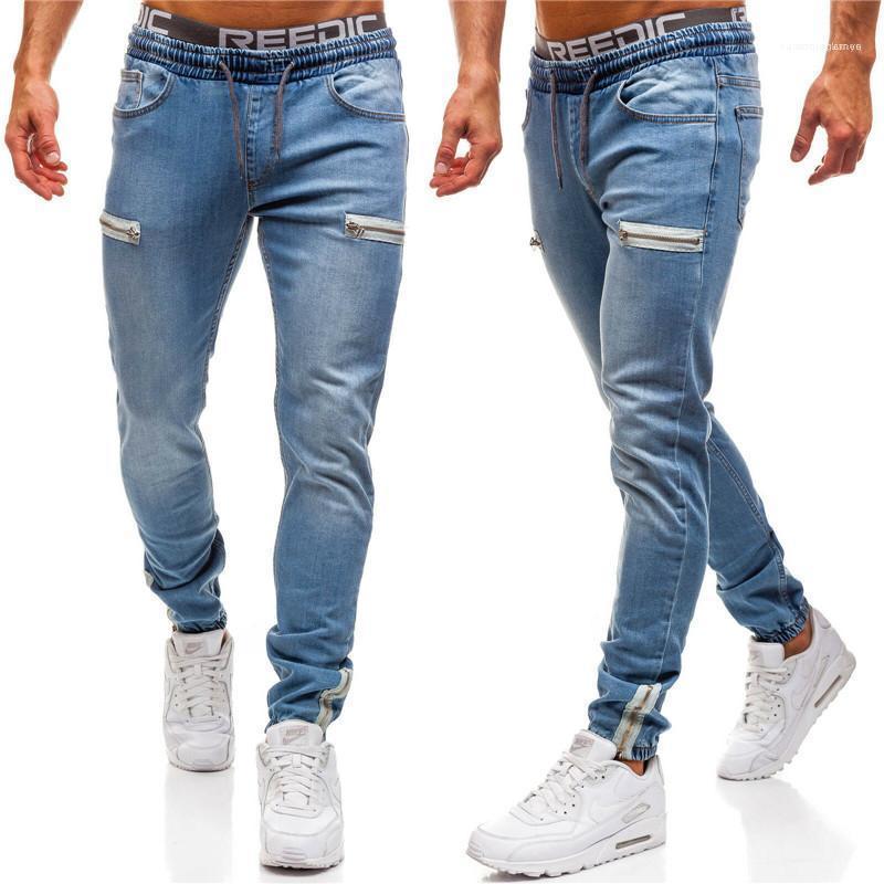 Slim Crayon Pantalon avec Zipper Casual Couleur Naturel taille élastique Jeans Hommes Jeans Fashion style actif