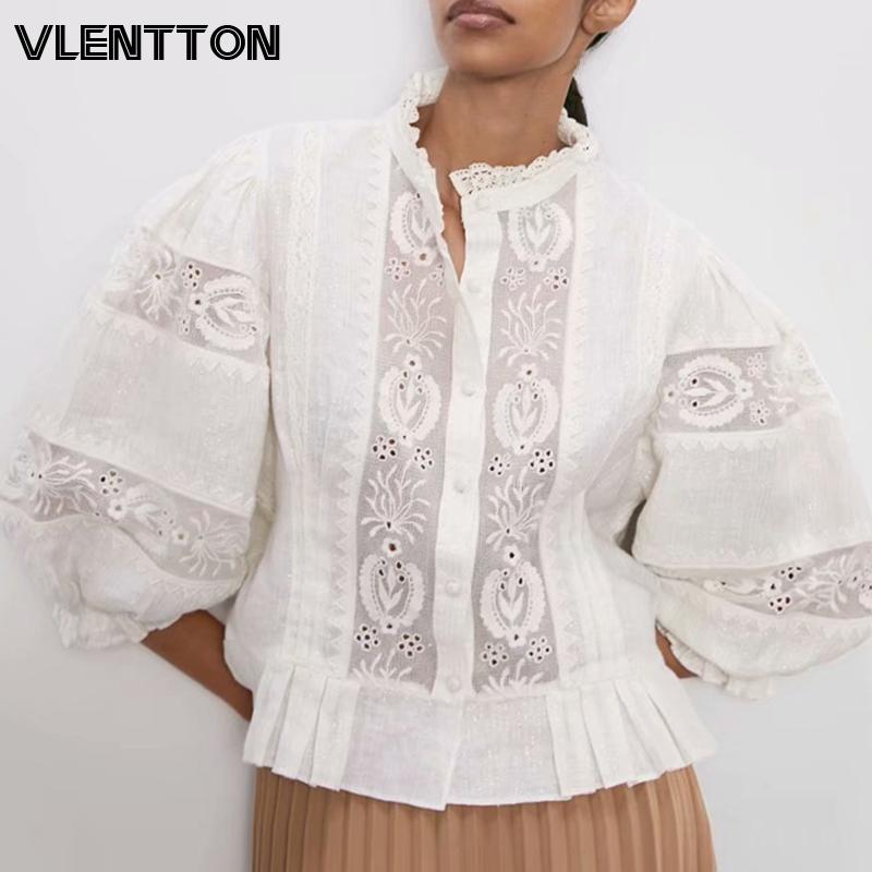 2020 Spring Autumn Women Fashion Sexy Lace Hollow Out Embroidery Shirts Cotton Linen Short Tops And Blouses Ladies Blusas Mujer
