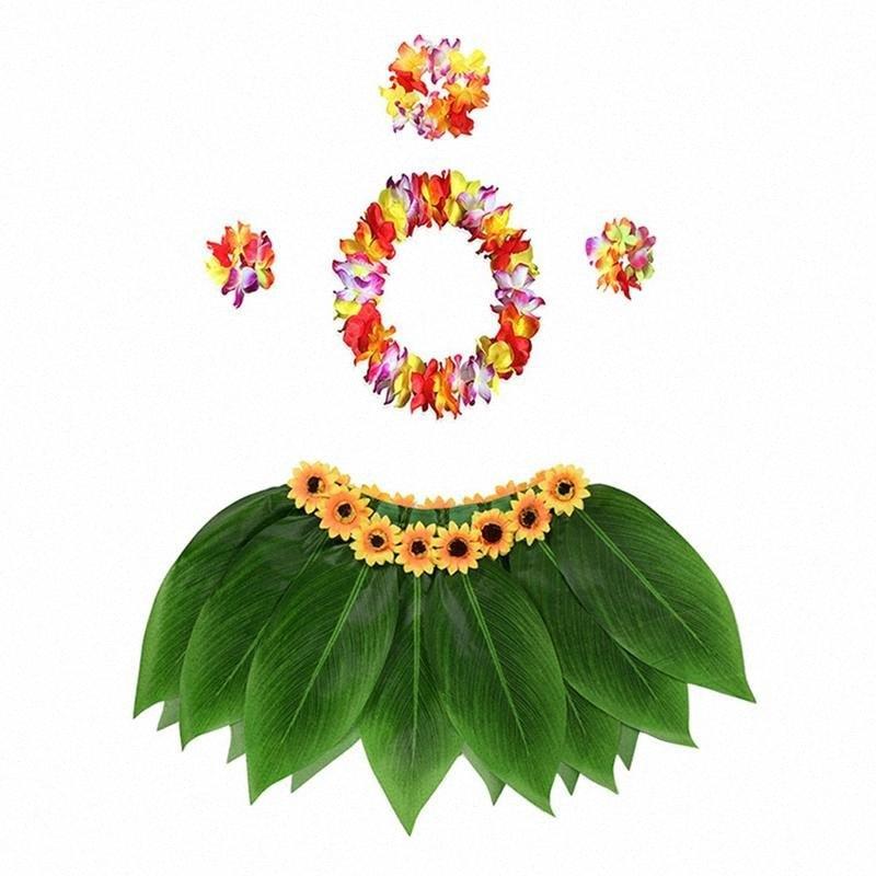 5pcs Jupe en hawaïenne Hula jupe costume ensemble avec des feuilles de fleurs artificielles vert coloré classique pour Luau Party Costume 1B0c #
