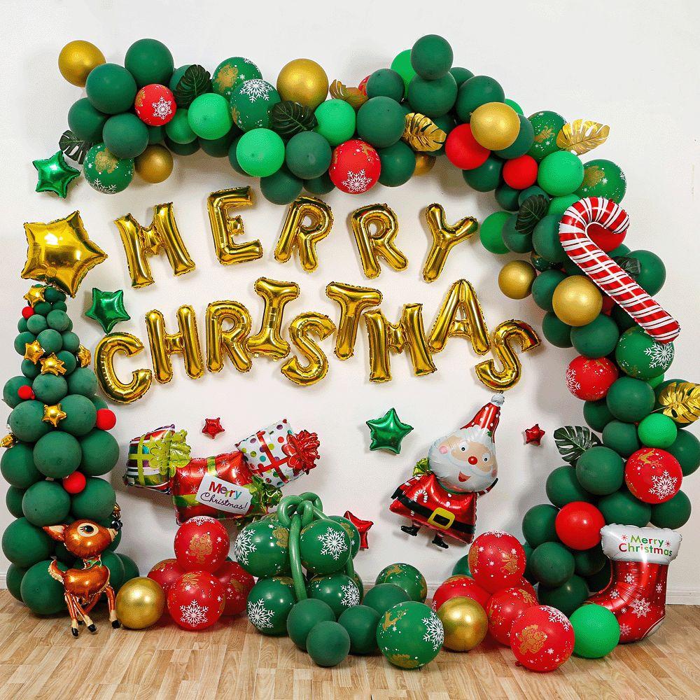 203pcs / set Noel dekorasyon alüminyum filmi lateks ve Noel partisi balonlar için sınır ötesi Noel hediyeleri dekorasyonlar