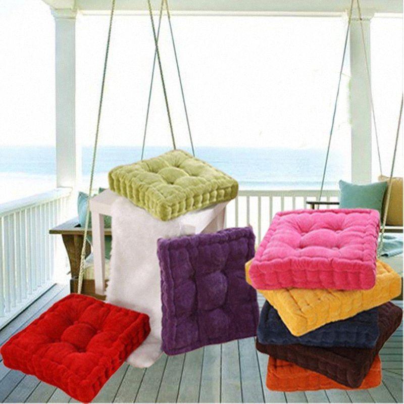 1pc Square Shape Plaid Thick Winter Warm Chair Pad Cushion Soft Washable Cotton Home Floor Decor 672720 jM6F#