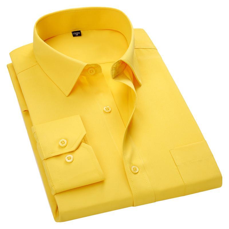 Top Men Long Sleeve Slim Fit Vestido Casual Camisa Branco Vermelho Azul Amarelo Masculino social Plus Size 5XL 6XL 7XL 8XL cor sólida