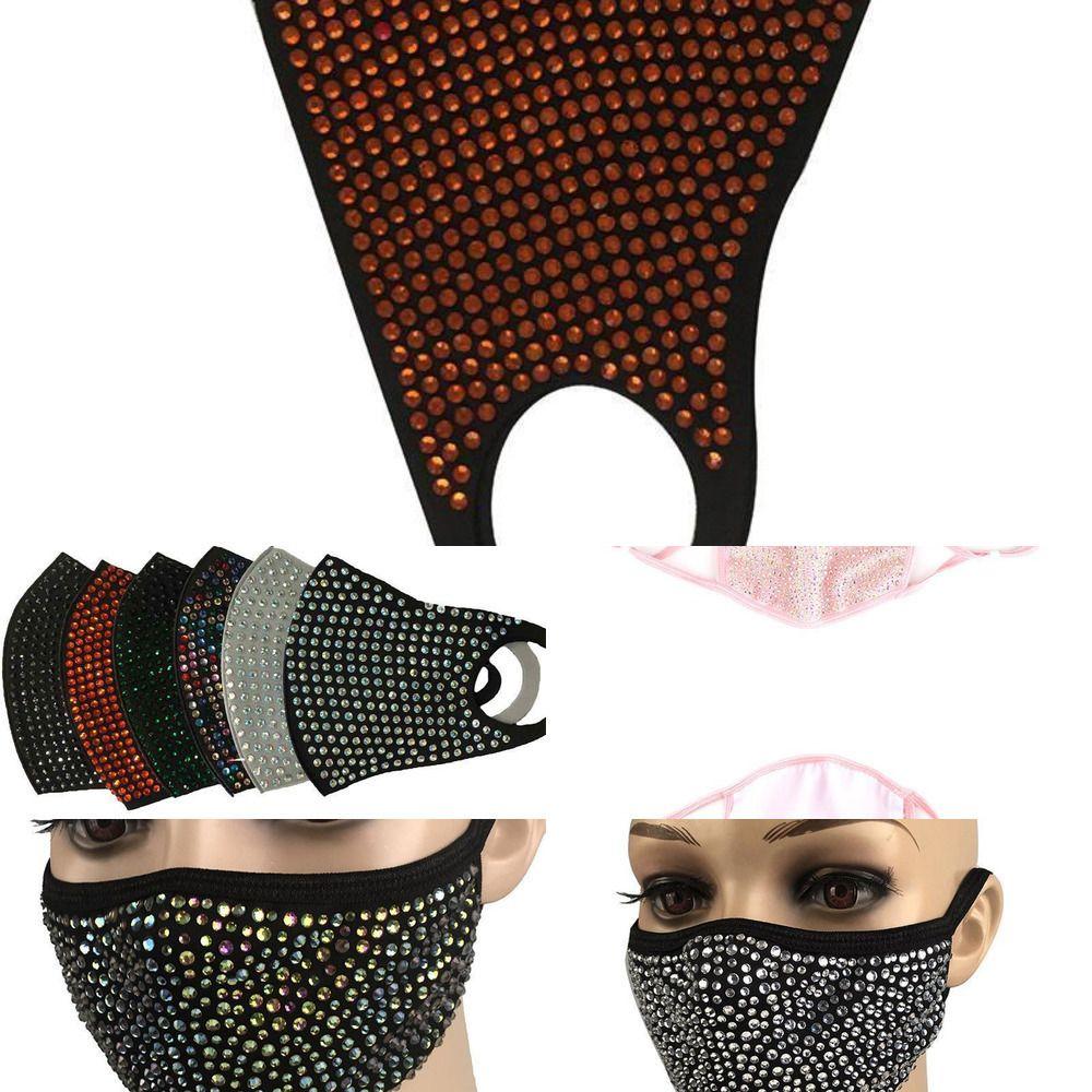 Protective Art und Weise Bling Diamant Bling Staubdichtes Maske PM2.5 Mund Masken Waschbar Wiederverwendbare 9iuk