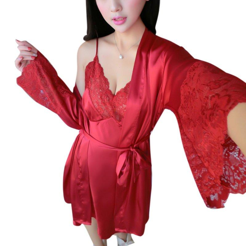 Two Piece Sexy Robes Silk Sleepwear Set Ladies Pajamas Black Red Pink Night Dress Plus Size Nightgown Lace Lounge Set Women
