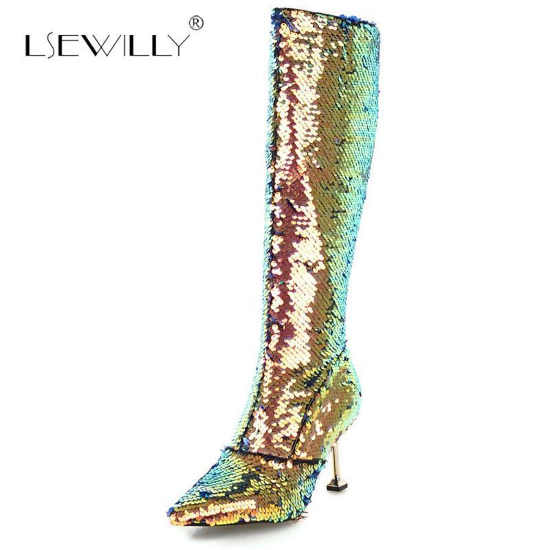 bling kadınları S875 bling Lsewilly 2020 kış stilettolar sivri burun diz yüksek çizmeler altın gümüş sim moda çizmeler