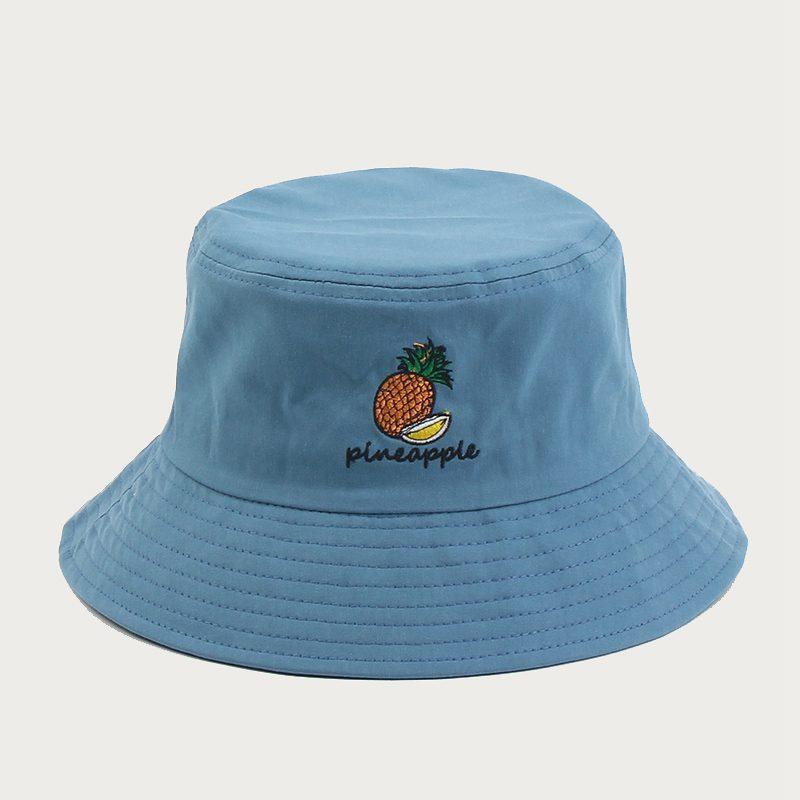 Seau chapeaux Fruit d'ananas broderie chapeau de pêcheur Femmes Femme Rue Chapeau d'été Sunscreen extérieur Soleil Chapeau Nouveau