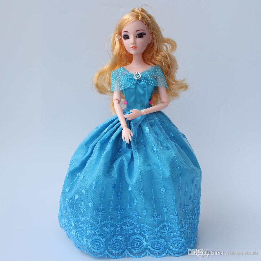 ht 1pcs 30cm Princenss Cenicienta chicas Muñecas 12 Toy Doll Dress articulaciones grandes 3D Ojos azules del partido de bricolaje para niños Juguetes
