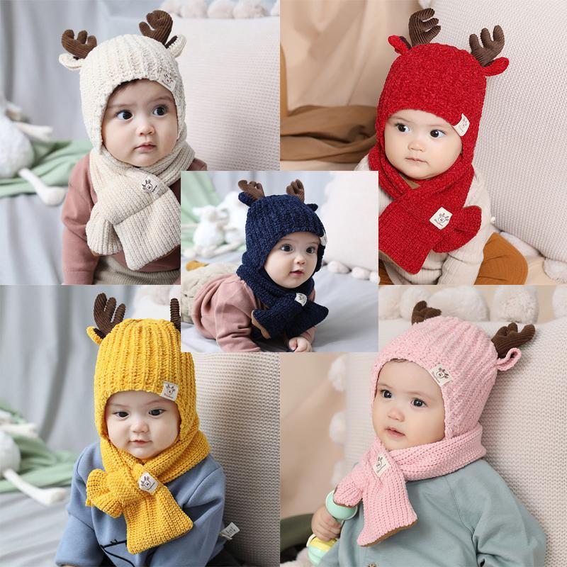 소녀 소년 모자 스카프 세트 유아 아기 겨울 따뜻한 니트 사슴 뿔 모자 + 스카프 키즈 니트 비니 세트 2 개 크리스마스 선물을 따뜻하게