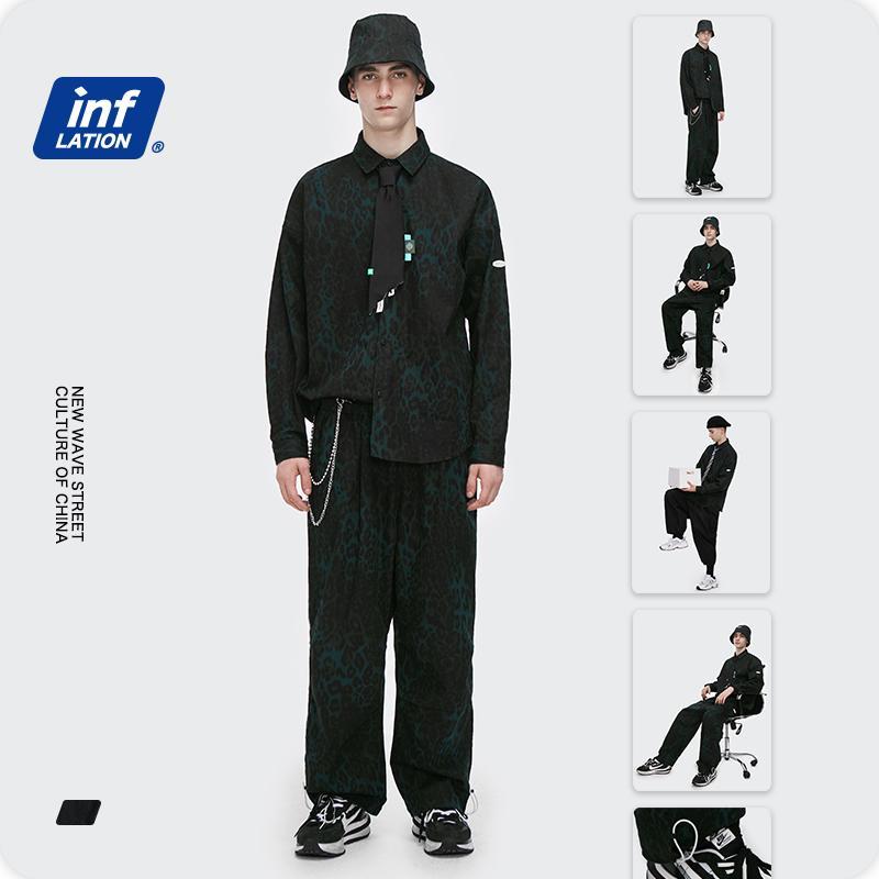 인플레이션 남성 스트리트 레오파드 운동복 남성 하이 스트리트 대형 긴 소매 셔츠 스트레이트 바지 두 조각 복장 커플