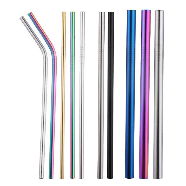 Coloré Pailles à boire réutilisable en acier inoxydable droit plié 215mm pour Straws verres à vin bar à domicile brosse de tasses