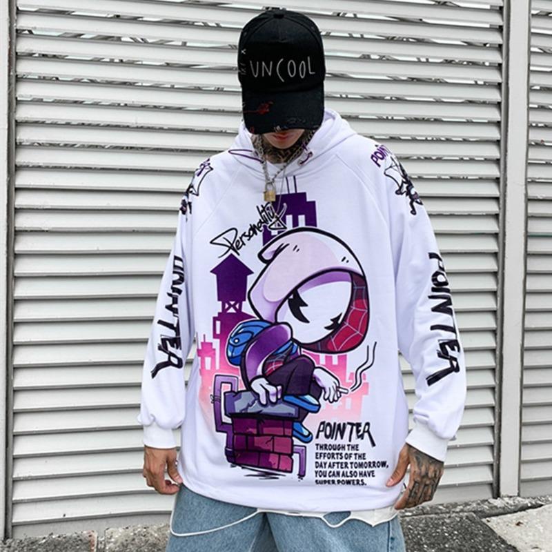 Harajuku camisola do Hoodie dos homens de Hip Hop dos desenhos animados Imprimir Pullover Hoodies Streetwear Casual Q091104 Roupa Moda Outono 2020