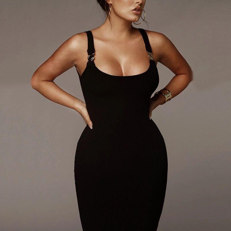2020 Осень женщины V-образный вырез Роскошного Bodycon платье Женского дизайнер A-Line Одежда сплошного цвета SpaghettiStrap Vestidoes платье