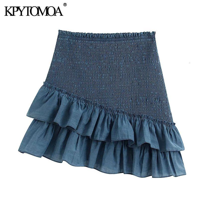 KPYTOMOA Kadınlar 2020 Sweet Moda Büzgülü Detay Mini Etek Vintage Elastik Bel Ruffled Kadın Etekler Casual Faldas Mujer