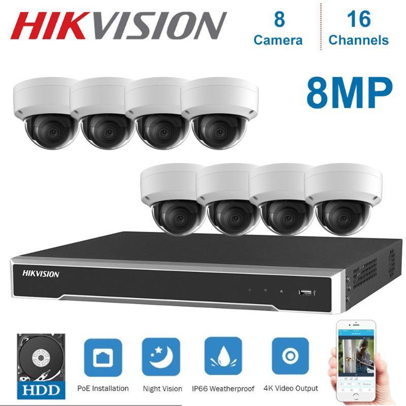 4K Netzwerk Hikvision 16-Kanal-POE NVR-Videoüberwachung und 8 -teilige POE 8MP Dome Nachtsicht-Kamera-Kit