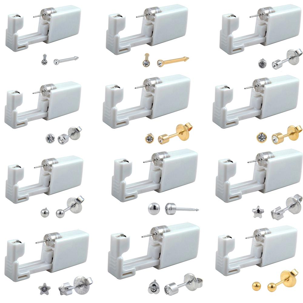 24pcs Disposable Sterile Ear Piercing Unit Cartilage Tragus Helix Piercing Gun Tool Kit Stud Earring Star Ball 200921