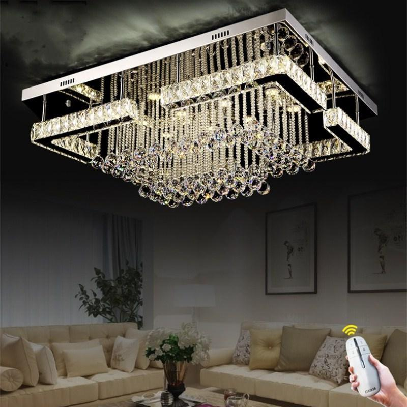 Flush Cgjxs moderno contemporáneo cristal rectangular iluminación de la lámpara Led Crystal Pandant lámpara para la sala de montaje en techo Iluminación Fixt