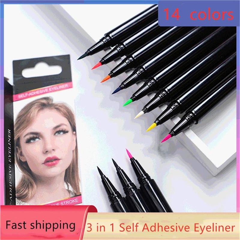 14 colors Hot Self adhesive eyeliner !! NO need Glue and it Can wear magnet eyelashes and normal eyelashes makeup tools DHL free