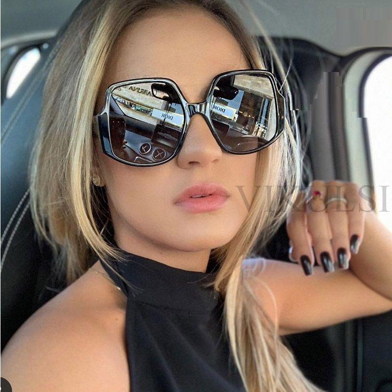 Feminino Marca Óculos de sol de luxo Vintage grande praça Sunglasses Preto Oversized Shades Mulheres 2020 Verão Driving Óculos Homens UV400