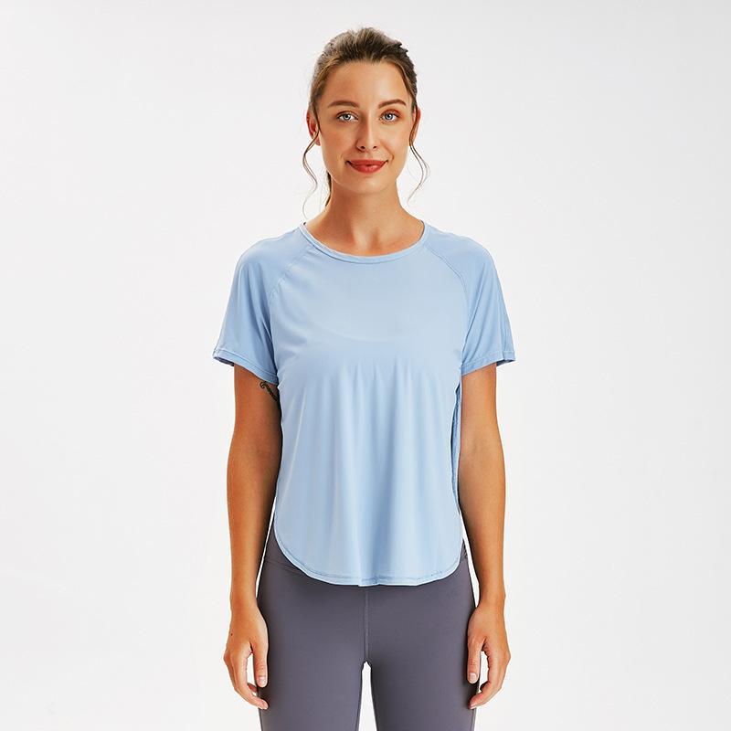 xiaobaigou deportes lu yoga tops de manga corta ropa de gimnasia mujeres sueltan la camisa en forma de secado rápido de la aptitud respirable ocasional tapa de la camiseta de la yoga lu