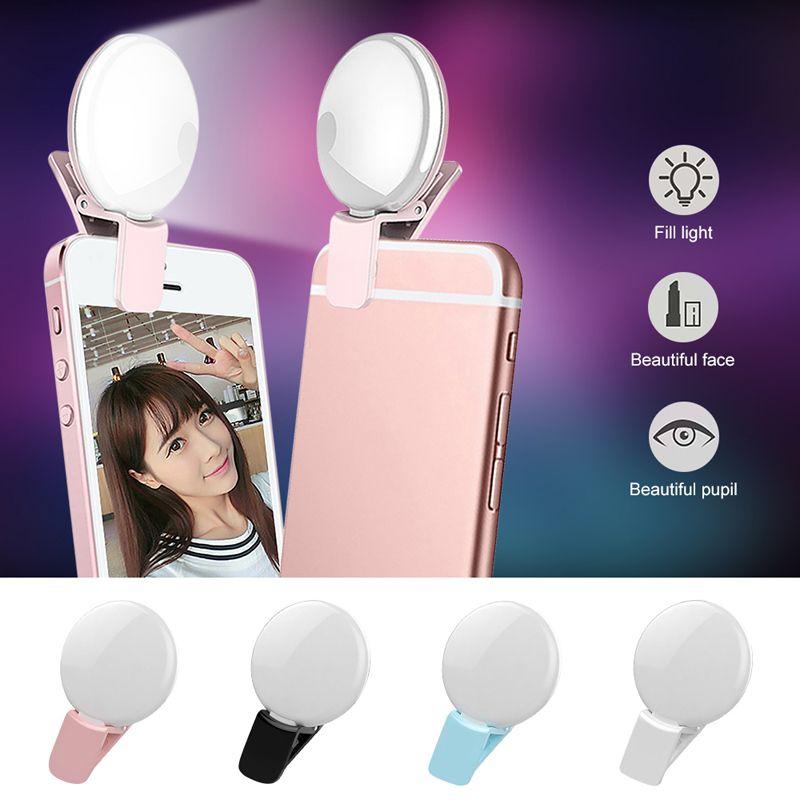 Fotografía de la cámara de iluminación Anillo selfie indicador de flash Mini Q recargable universal LED selfie Luz Luz del anillo para el iPhone Samsung S10 Plus