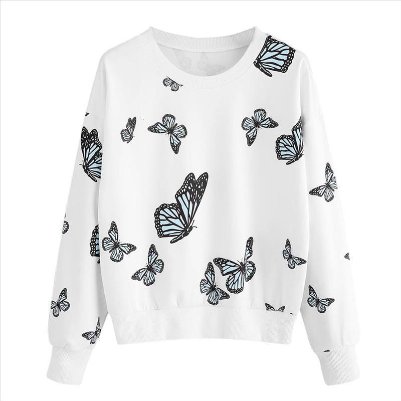 Moda Donna casuale semplice Swatshirt stampa della farfalla maniche lunghe Comodo solido Colore Morbido Chic camicetta superiore