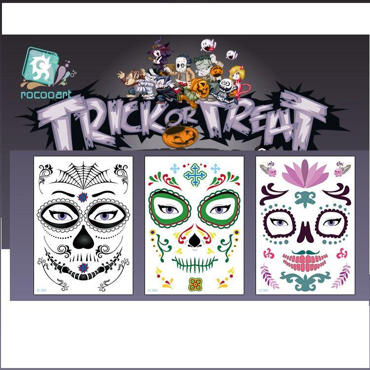 Halloween face stickers tattoos Tattoo Transfer waterproofing Halloween tattoo paste terrorist whimsy face stickers