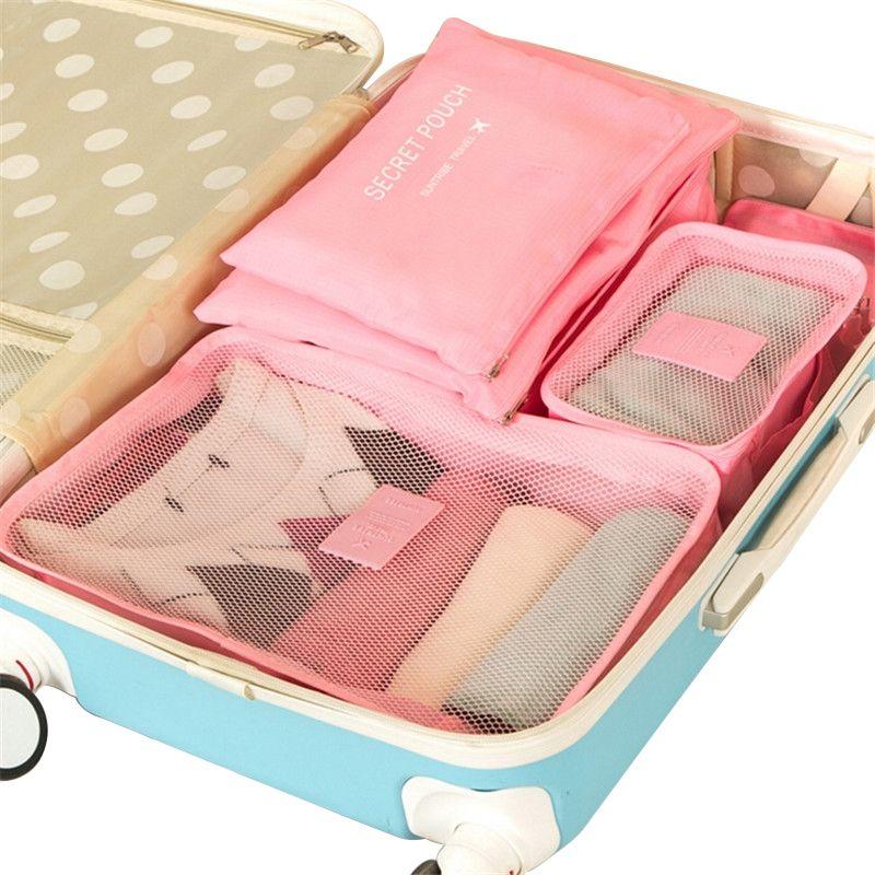 Voyage organisateurs d'emballage paquet imperméable bagages Valise finition vêtements en nylon Pouch accessoires style coréen 6 pièces / set