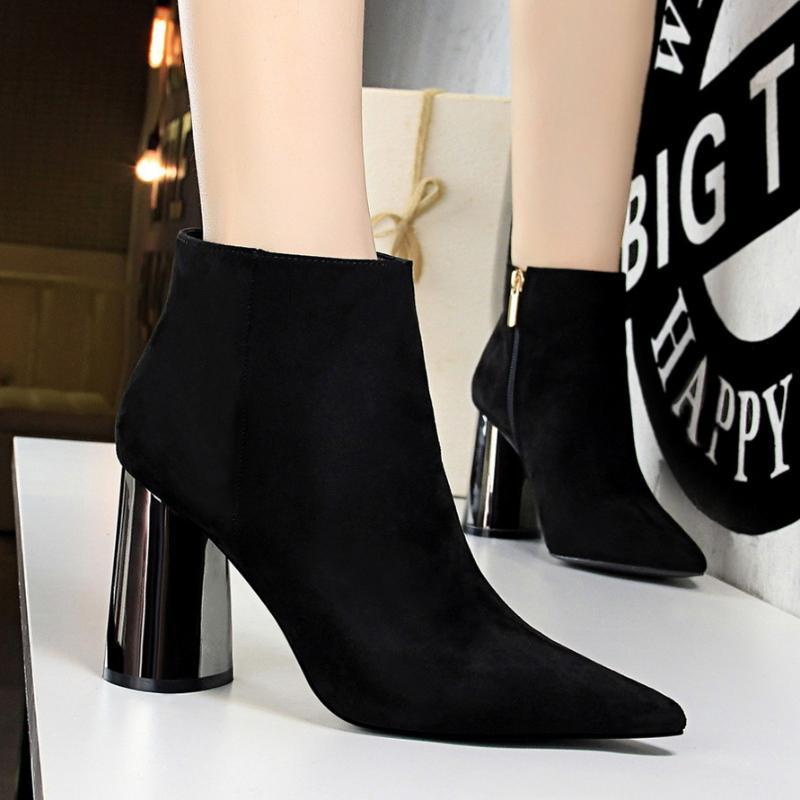 European Boots American Fashion Simple Metal Heel Thick High Suede Sexy Slim Nightclub And Nude 001