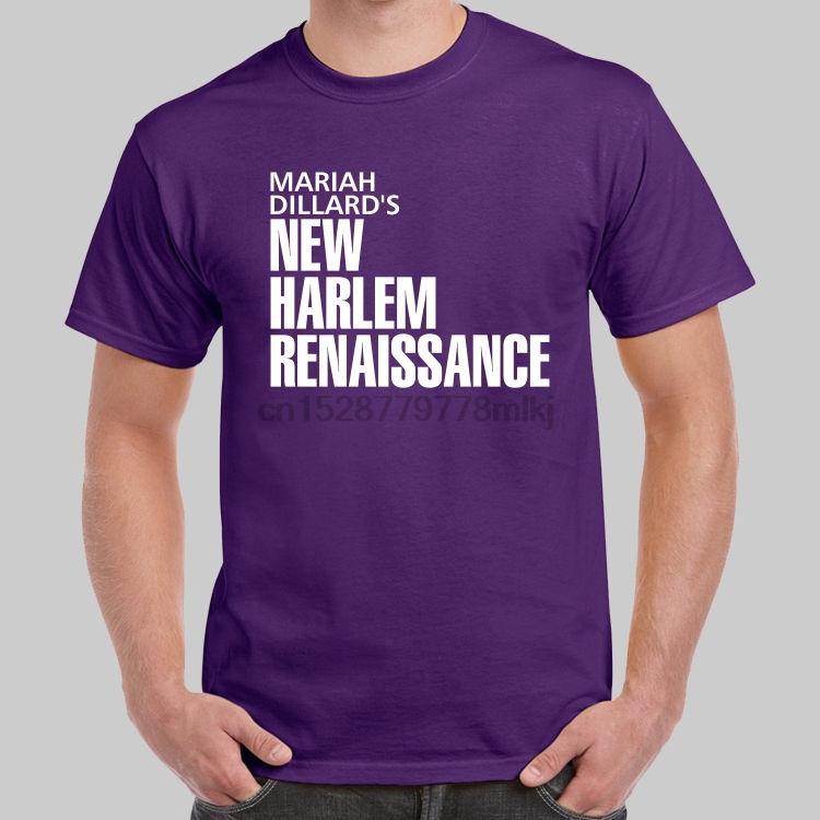 Mariah Dillard Yeni Harlem Rönesansı Luke Cage Mor tişört ABD Boyut Serin Kısa Kollu Erkek T Shirt Harf Baskı
