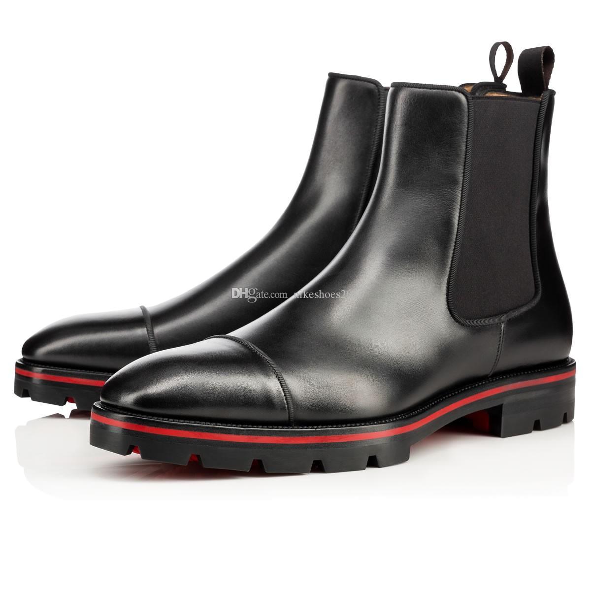 Los diseñadores de fondo de lujo para hombre de Italia Caballero Botas rojas, Negro de cuero genuino con pinchos manera ponen en cortocircuito botas rojas soles botas para hombre de los zapatos para mujer
