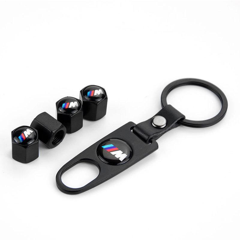 4pcs / lot Auto-Reifen Ventilkappen Air Rad Staubschutz mit Schlüsselanhänger Emblem Car Styling für BMW Mercedes Benz Audi VW Honda Mazda
