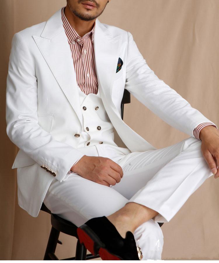 2020 Blanc Groomsmen pic Lapel smokings marié hommes robe de mariage meilleur homme Blazer Prom Dîner 3 Piece Suit (Veste + Pantalon + Tie + Gilet)