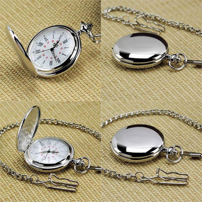 Nuovo argento buon arrivo catena quarzo OROLOGIO migliore regalo di modo degli uomini Steampunk Donne numeri romani Reloj de bolsillo