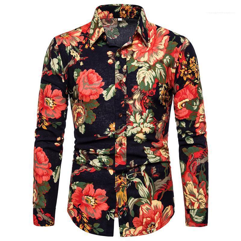 Kleidung Blumendruck Herren Designer-Hemden arbeiten Langarm-Einreiher beiläufige Mens-Hemden Revers Hals Männer