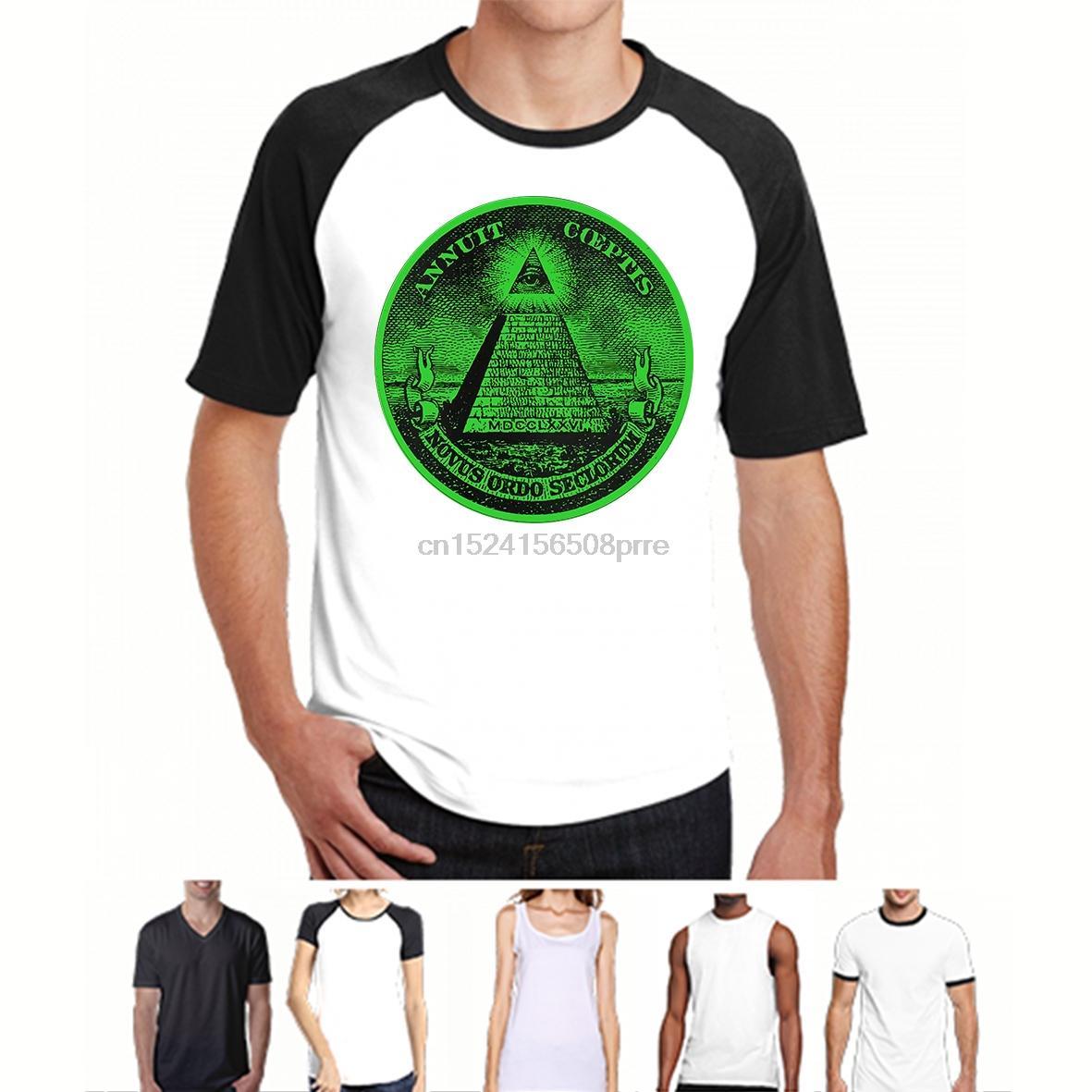 Moda Illuminati Maestro Massone massonica Dollaro piramide degli uomini di Eye T-shirt