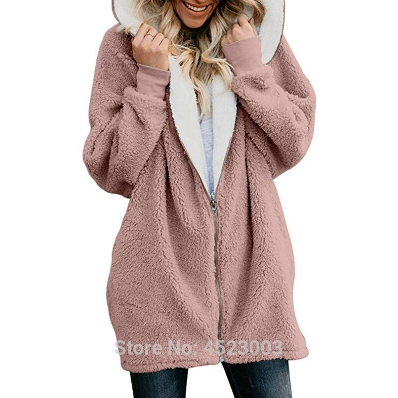 New Winter Hooded Faux Long Sleeve Casual Women Clothes Autumn Zip Up Warm Fur Hoodies Sweatshirt