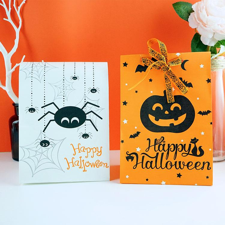 50pcs/lot Holloween Pumpkin and Spider Printing Kraft Paper Bags For Helloween Party Decoration and Candy Gift Packaging