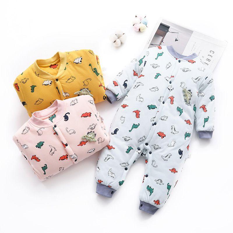 Infant meninos meninas jumpsuit Outono Romper infantis Macacão de algodão Roupas Roupa de inverno Roupa Quente bonito 0917