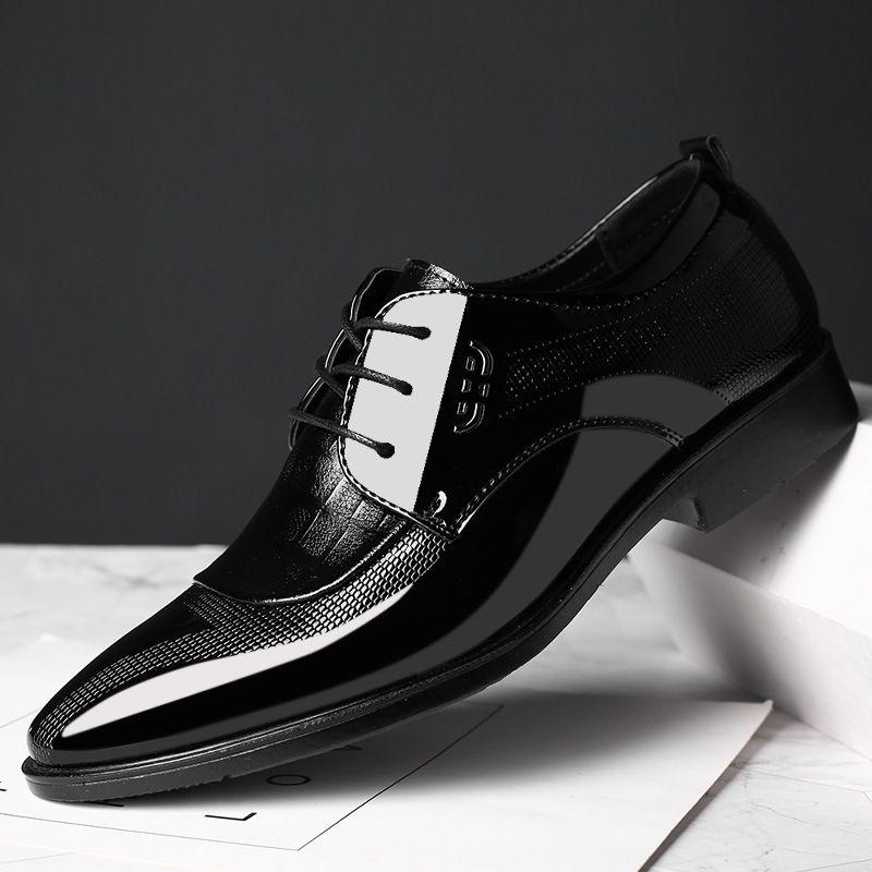 Os homens novos sapatos de casamento microfibra couro Formal Negócios Sapato de bico fino para o vestido de homem sapatos masculinos Oxford Flats Plus Size 38-48